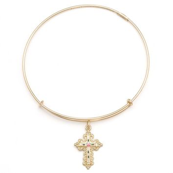 Floral Cross Charm Bracelet | Alex and Ani