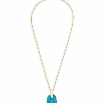 Inez Long Pendant Necklace Bronze Turquoise | Kendra Scott