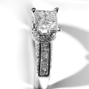 Princess Cut 14k white gold Diamond Engagement Ring - 1.70 carat - weddings - Channel set - Round - custom made - Bp030
