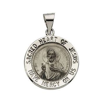 14k White Gold Sacred Heart of Jesus Medal Charm Pendant - 18.5mm