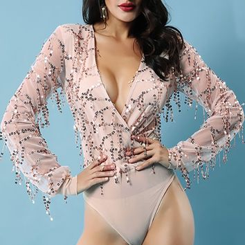 Diva Alert Pink Sheer Mesh Sequin Tassel Fringe Long Sleeve Cross Wrap V Neck Bodysuit Top
