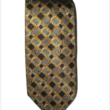Vintage CHRISTIAN DIOR Formal Silk Necktie Elegant DIOR Bronze Gold Black Silk Necktie Art Deco French Couture Necktie