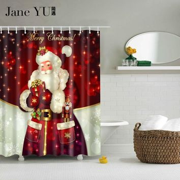 JaneYU 25 color Merry Christmas Red Polyester Bath Curtain Santa Claus 3D Printed Waterproof Shower Curtains Bathroom Decoration