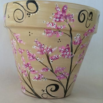 Hand painted flowerpot, cherry blossom pot, hand painted pot, painted pot, painted cherry blossoms, painted planter, outdoor pot, indoor pot
