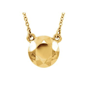 Faceted 9mm Circle Necklace in 14k Yellow Gold, 16.5 Inch