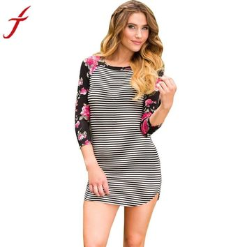 Fashion Cute Style Dress Women Three-Quarter Sleeve Sexy Street Style Bodycon Striped Print Patchwork Floral Sheath Mini Dress