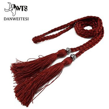 [DWTS]2016 Fashion Classic Wild Women rope belt cummerbunds Thin Braided Tassels Belt Lady All-Match Waistband 9 Colors Optional