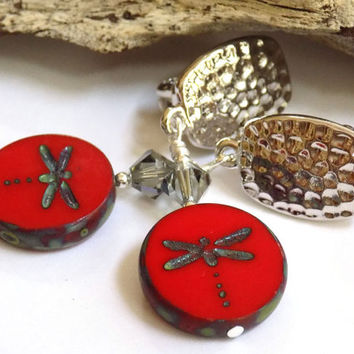 Silver Dangle Earrings, Red Earrings for Women, Clip on Earrings, Dragonfly Earrings, Swarovski Crystal Jewelry, Handcrafted Jewelry