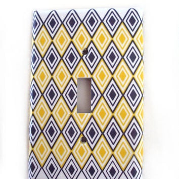 Yellow and Gray Diamond Light Switch Cover Your Choice of Single or Double