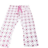 TAREA Rue 21 womens Girls White w /Pink Hearts Lounger Pants Size L Large