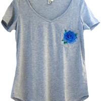 Womens Embroidered Grey Loose Pocket Tee V-Neck Tshirt (Blue Rose Design)