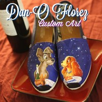 Custom TOMS Disney's Lady and the Tramp inspired ARTWORK ONLY. YOU MUST PROVIDE SHOES