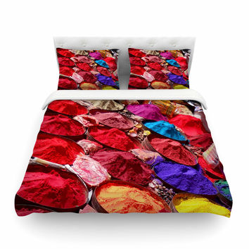 """Carina Povarchik """"Indian Powders"""" Red Photography Featherweight Duvet Cover"""