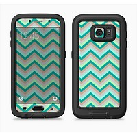 The Vintage Subtle Greens Chevron Pattern Full Body Samsung Galaxy S6 LifeProof Fre Case Skin Kit