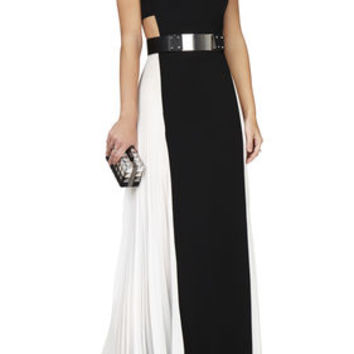 BCBG Brielle Sleeveless Side-Pleated Gown