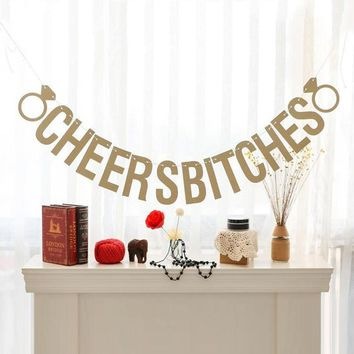 Gold Sparkly Let's Party Bitches&Cheers Bitches Photo Backdrop Birthday Party Banner Bachelorette Party Banner Party Decors