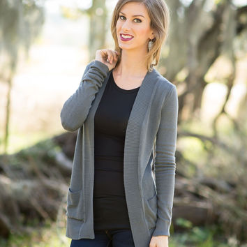 My Everything Open Front Cardigan - Charcoal