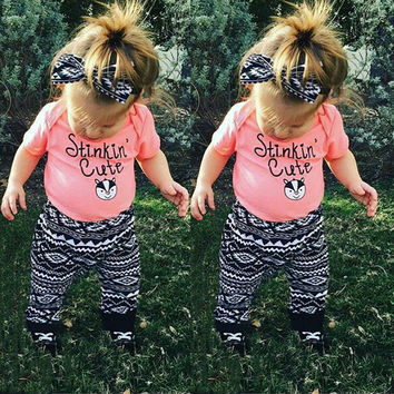 2016 Hot Newborn Baby Girl Outfits Infant Clothing Baby Girl Summer Clothes 2pcs suit:T shirt + pants newborn clothes toddler