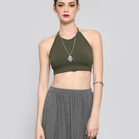Woodstock Halter Crop Top - Olive - Tops - Clothes | GYPSY WARRIOR