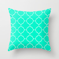 Moroccan Aqua Throw Pillow by House of Jennifer
