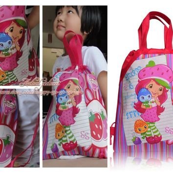 Hot Items 1PCS Strawberry Shortcake Children Drawstring Backpacks School Shopping Party Bags 34*27CM Non Woven Fabrics