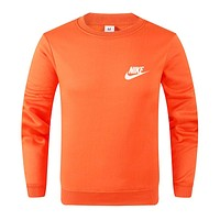 NIKE New fashion bust side letter hook print couple long sleeve top sweater Orange