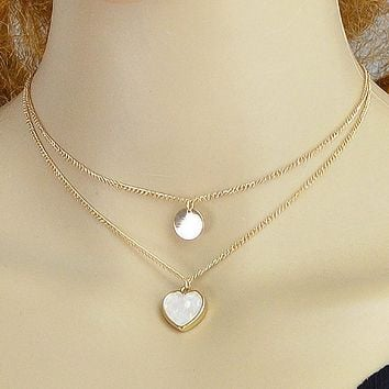 Two Layered Heart and Disc Gold Necklaces