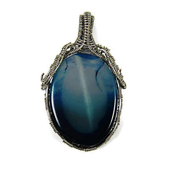 Blue Agate Wire Wrapped Pendant, Woven Silver Plated Wire Wrapped Agate Stone Pendant
