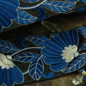 "Indigo Garden: Rich Blue, Dark Silk Trim, Ribbon, Sari Border, India 3 1/4""x1 Yard / Floral Craft, Wedding, Decor, Sewing Supplies, DIY"