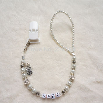 Personalised -Any name Bling silver rhinestone hand made pacifier clips soother chain holder Dummy clip Teethers clip for baby