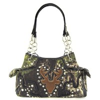 Soft Camo Deer Head Camouflage Purse (Black Satchel Chain Purse)