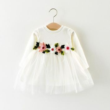 Princess Party Dresses Baby Cotton Girls Cute Dress Solid Color Waist Flowers Long-Sleeved Lace Infant Toddler Elegant Dresses