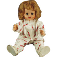"Old, 16"" Vinyl Doll -  Little Girl in Holiday Pajamas"