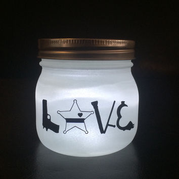 Sheriff LOVE LED light. Custom Sheriff mason jar, Law Enforcement night light, personalized Deputy Sheriff Gift
