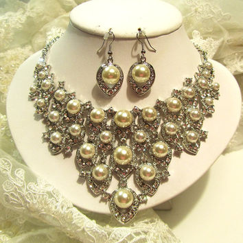 Bridal jewelry set, pearl rhinestone bridal necklace earrings, bridal crystal necklace,wedding jewelry set.