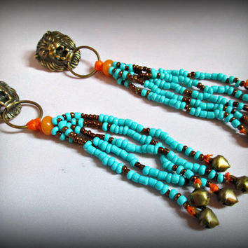 Long beaded earring,lion head earring,boho earring,bohemian jewelry,tribal jewelry,flower earring-ethnic earring-boho earring