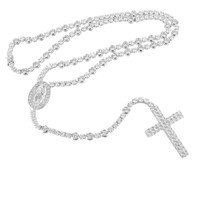 Mens Jesus Christ Tennis Link Cross Rosary Necklace