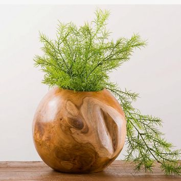 Small Teak Wood Spherical Planter