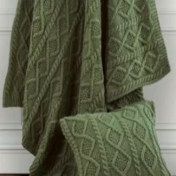 Cowgirl Kim Green Cable Knitted Throw