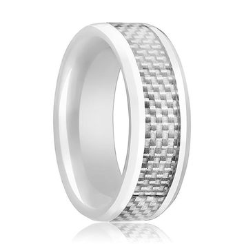 White Ceramic Ring - White Carbon Fiber Inlay - Ceramic Wedding Band - Beveled - Polished Finish - 8mm