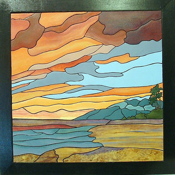 Sunset,Island, Tropical Abstract, Wood Sculpture Wall Art, Nautical Wall Hanging for Home Decor