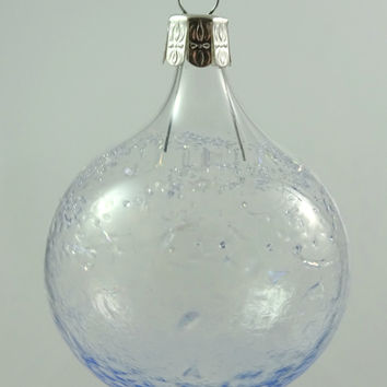 Handmade Blown Glass Christmas Ornament, Clear and Rainbow Dichroic Glass