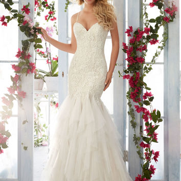 Morilee Bridal Madeline Gardner Embroidered Lace Appliques on Soft Net Flounced Dress with Shoestring Straps Wedding Dress | Style 6813 | Morilee