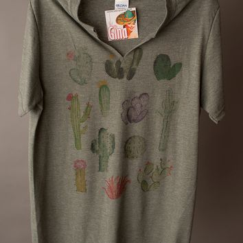 "Gina ""Cactus Multi"" Green Cut V Neck Tee"