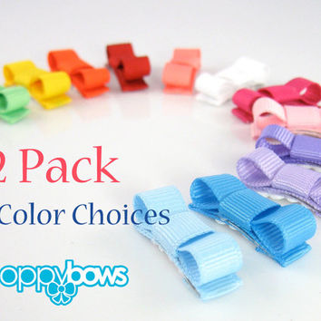 Baby Hair Clips 12 Pack - You Choose Colors Mini Snap Hair Clips For Babies Tuxedo Bows with Non Slip Grip