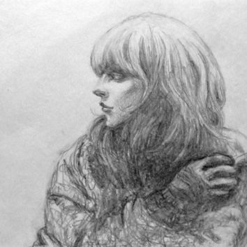 original pencil drawing  A portrait of a girl  name winter's gone fine art  on paper decoration
