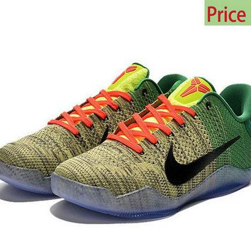 shoe fit Kobe 11 XI Elite Flyknit Grinch Christmas Snake Green Gym Red Cream sneaker