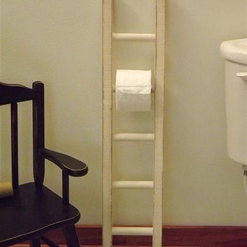Ladder/ toilet paper holder/ rustic / bathroom decor/ farmhouse/ distressed white