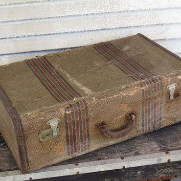 Vintage Suitcase Striped Tweed and Leather Large 1930s Luggage