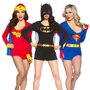 Superheroine Ladies' Caped Rompers